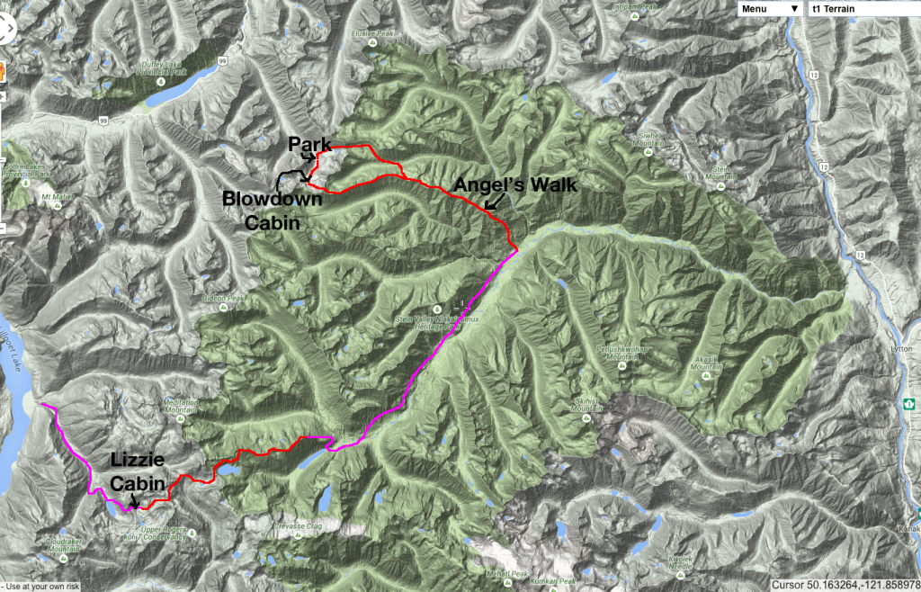 Red is off trail. Pink is trail.