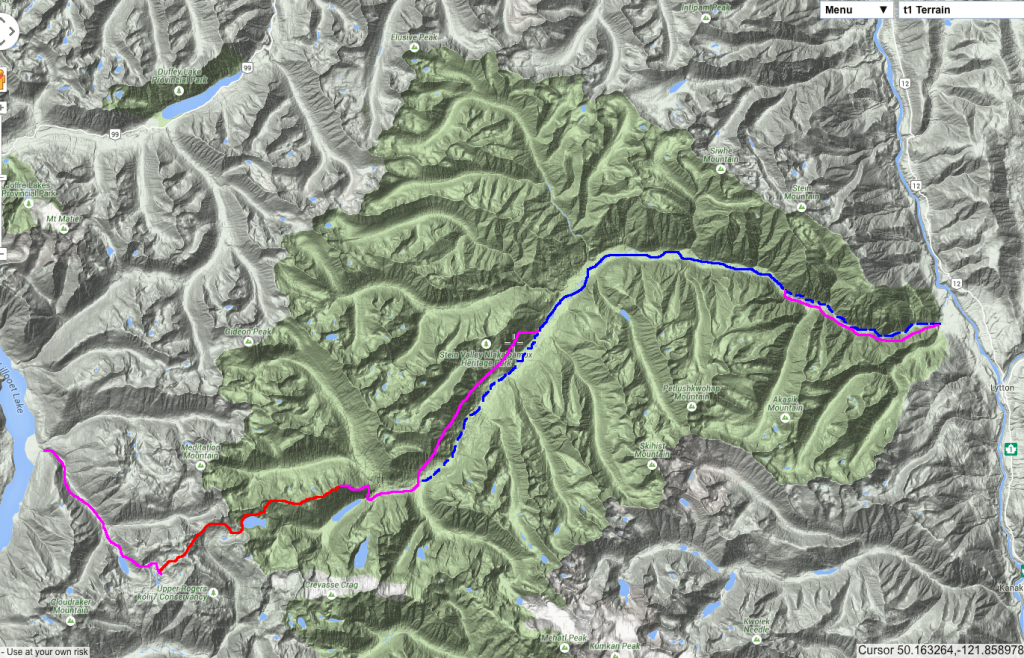 Pink = trail, red = alpine route, solid blue = class I-II water, dashed blue = class III - IV water.